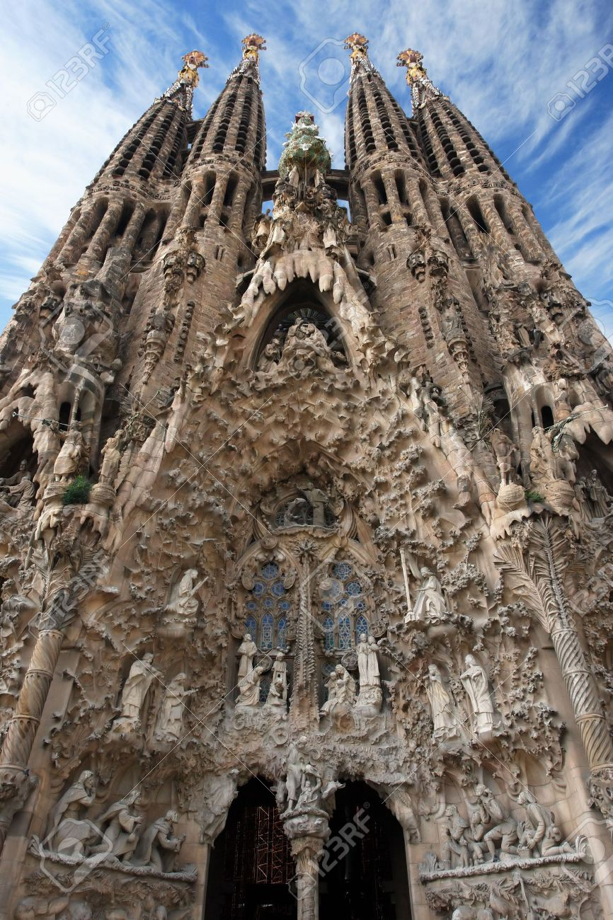 The Unfinished Church Of Sagrada Familia In Barcelona Spain Stock