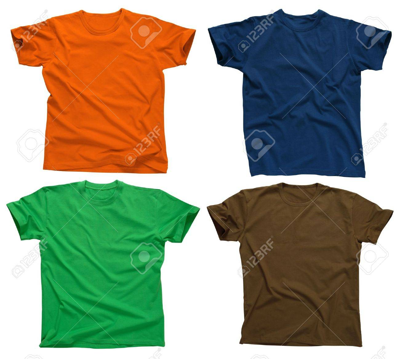 Photograph of four blank t-shirts, green, dark blue, brown, and orange.  Clipping path included.  Ready for your design or logo. Stock Photo - 2625508