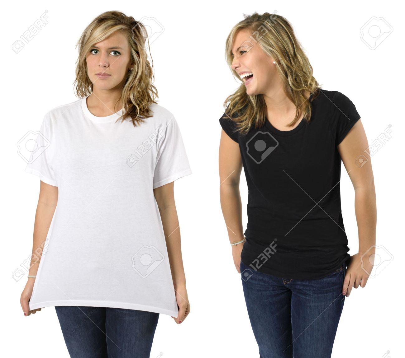 9e3faf23aadcf Foto de archivo - Joven mujer rubia hermosa (misma hembra dos imágenes) con camisa  negra en blanco y camisa blanca. Listo para su diseño o logotipo.