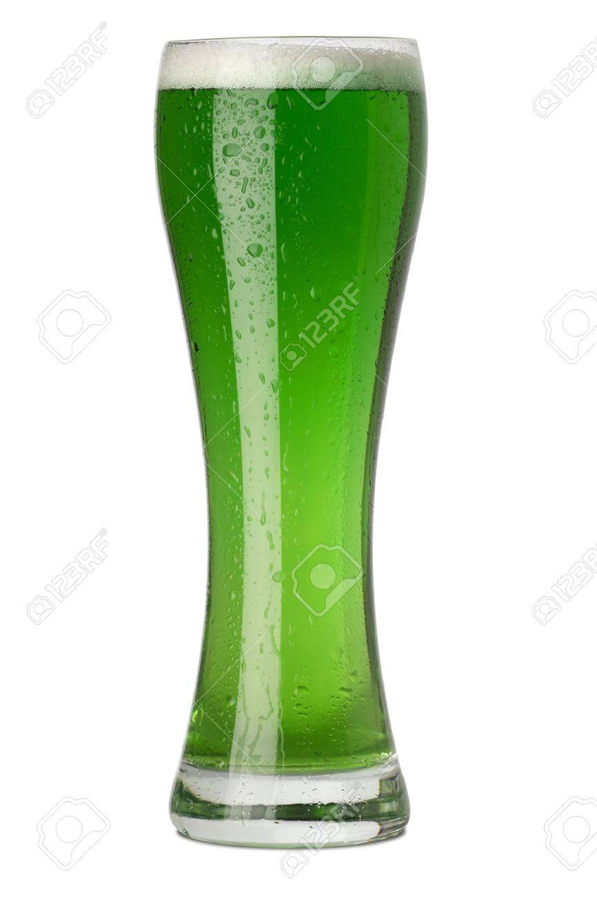Photo of a tall glass of green beer for St. Patrick's Day. Stock Photo - 6332476