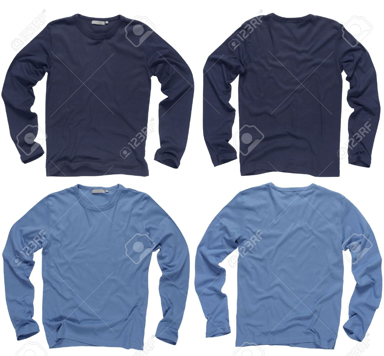 Photograph Of Two Wrinkled Blank Navy And Light Blue Long Sleeve ...