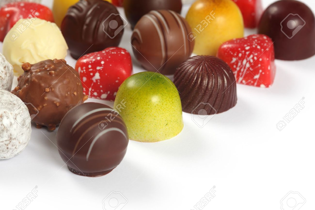Assorted Truffles, Pralines, And Liqueur Filled Chocolates On ...