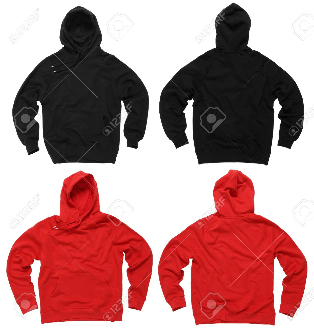 Photograph of two blank hoodie sweatshirts, red and black, front and back.  Clipping paths included.  Ready for your design or artwork. Stock Photo - 10862600