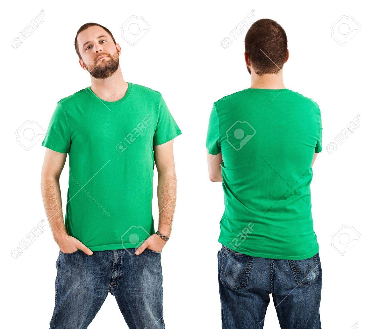 Design t shirt with front pocket - Stock Photo Young Male With Blank Green T Shirt Front And Back Ready For Your Design Or Artwork