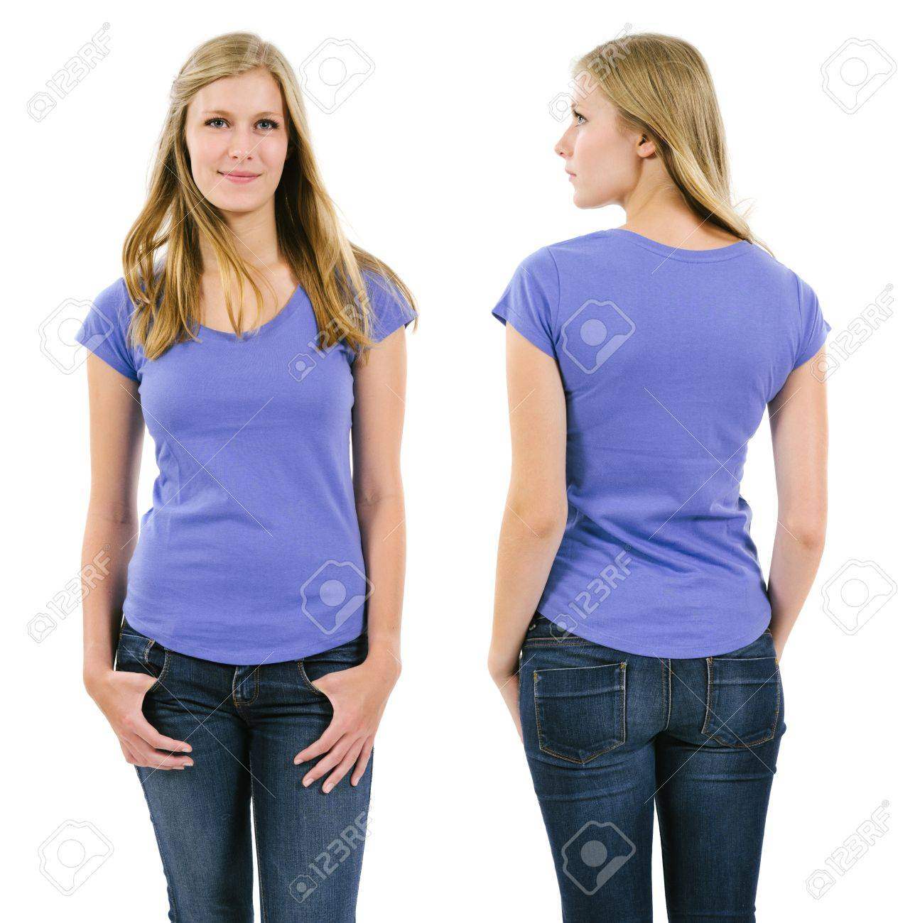 Photo of a young adult female posing with a blank purple shirt.  Front and back views ready for your artwork or designs. Stock Photo - 21145400