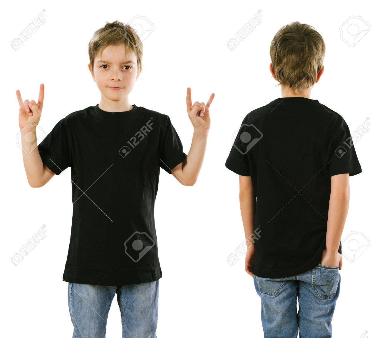 Young Boy With Blank Black T-shirt, Front And Back. Ready For ...