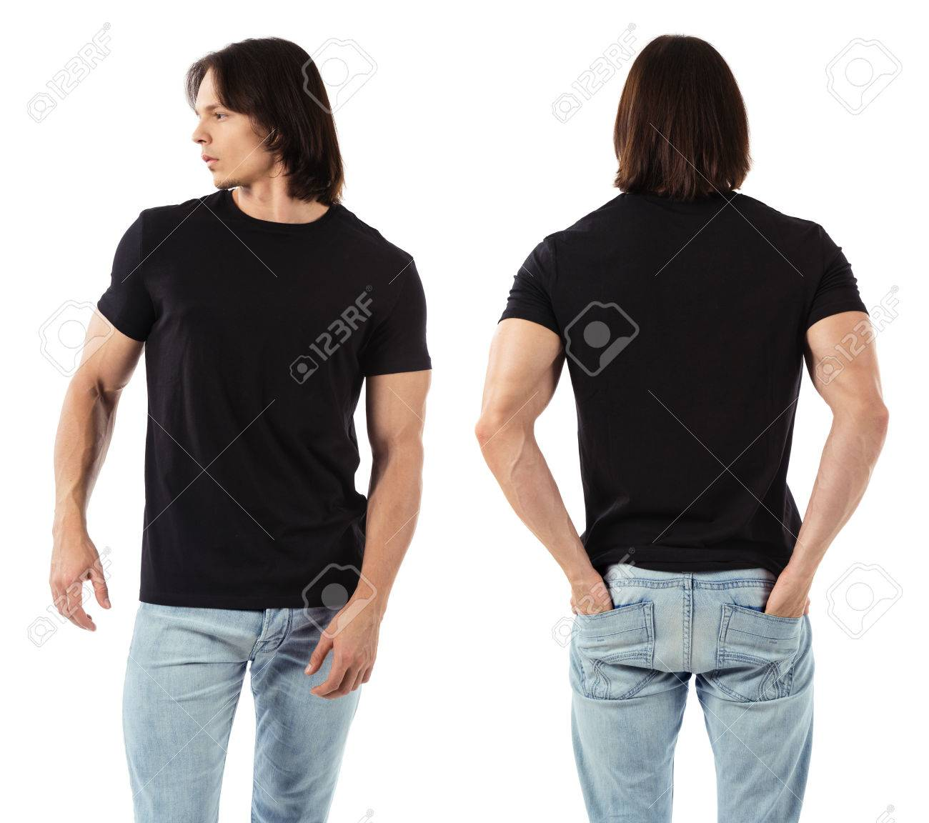Blank black t shirt front and back - Photo Of A Man Wearing Blank Black T Shirt Front And Back Ready