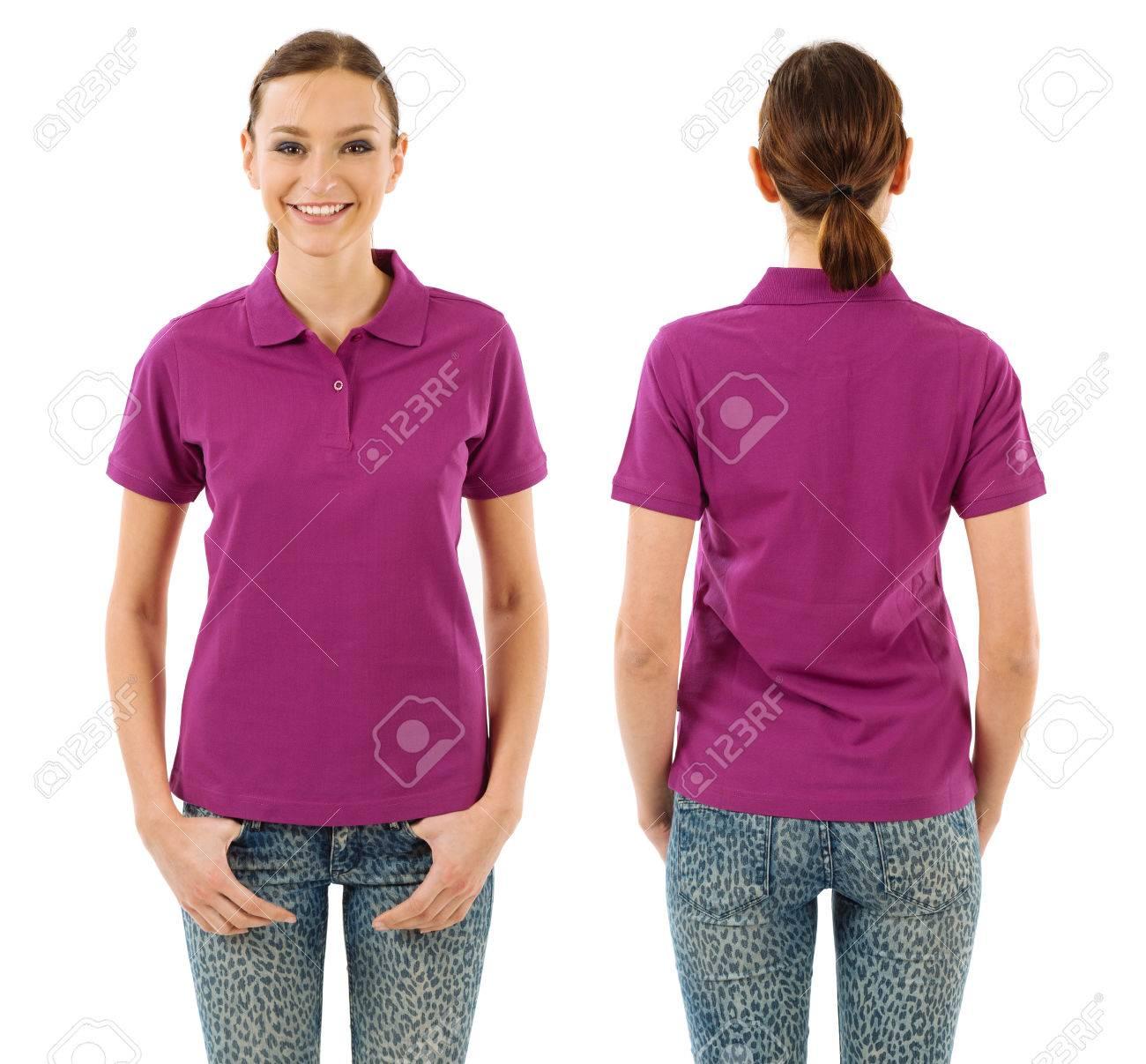Foto de una mujer hermosa joven con la camisa de polo color púrpura en blanco, vista frontal y espalda. Listo para su diseño o ilustraciones.