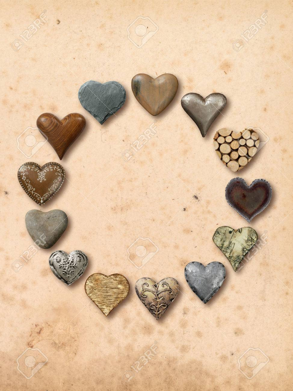 Photos Of Heart Shaped Things Made Stone Metal And Wood Assembled Into