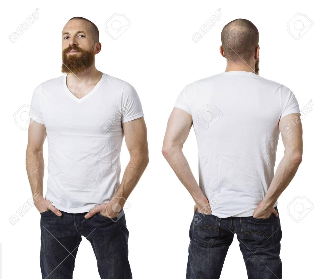 valor por dinero rebajas(mk) gran selección de 2019 Foto de un hombre con barba y con una camiseta blanca en blanco, delante y  detrás. Listo para su diseño o obra de arte.
