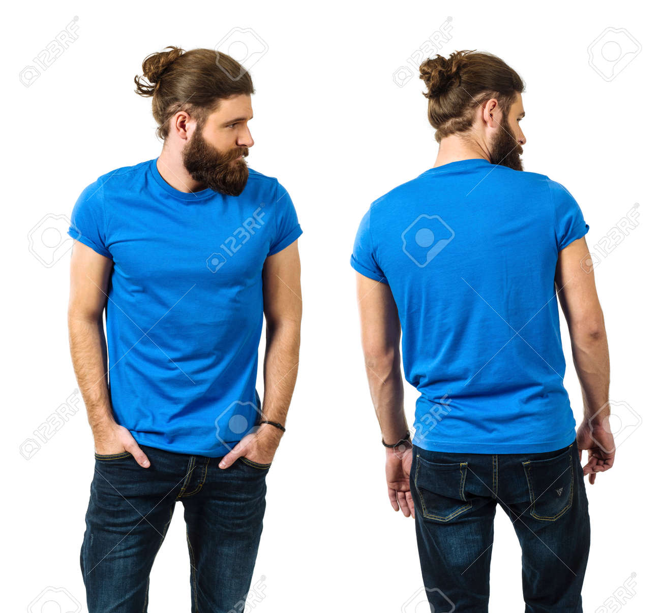 Young man with long hair and beard wearing blank blue shirt, front and back. Ready for your artwork. - 166319801