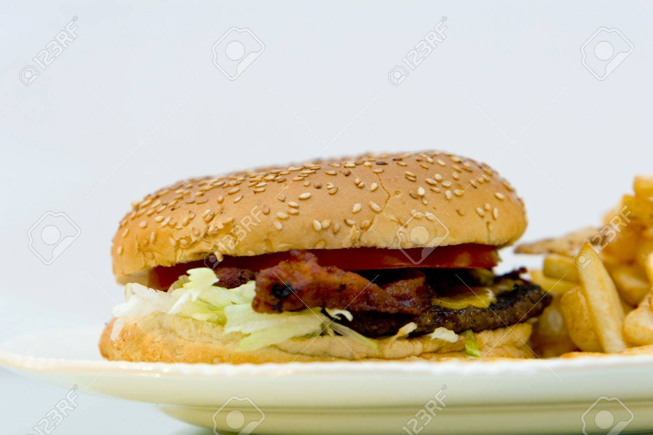 bacon cheeseburger with french fries on a plate Stock Photo - 755179
