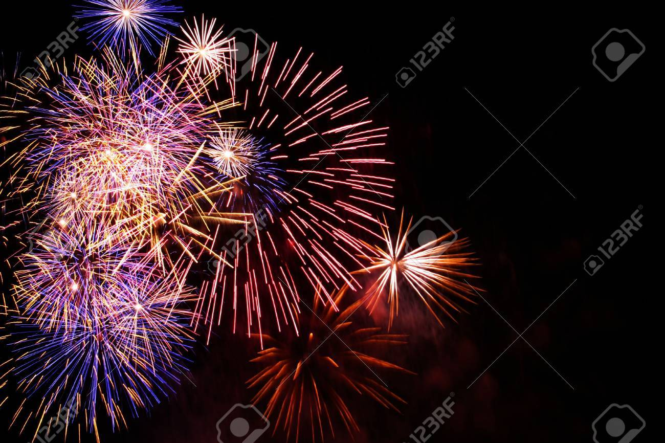 colorful fireworks with some copy space to the right Stock Photo - 798959