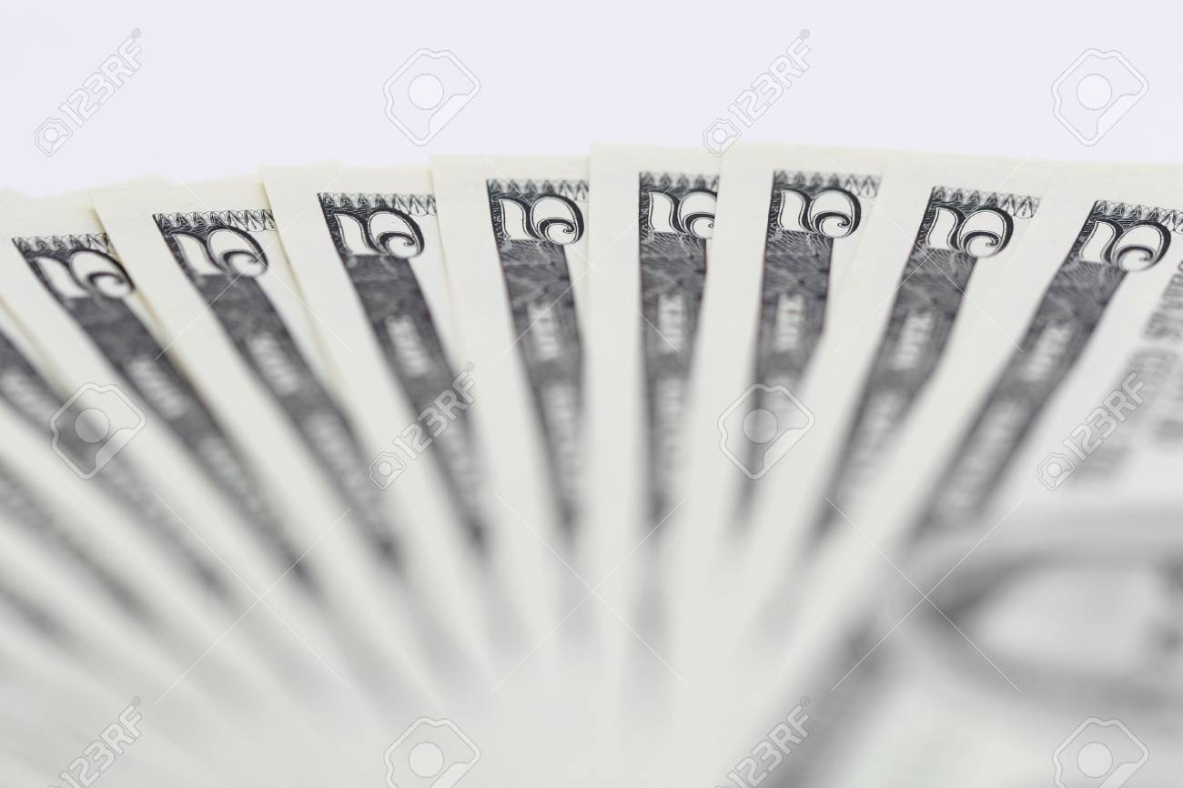 A close up of a bunch of 5 dollar bills, good background, Stock Photo - 1104483