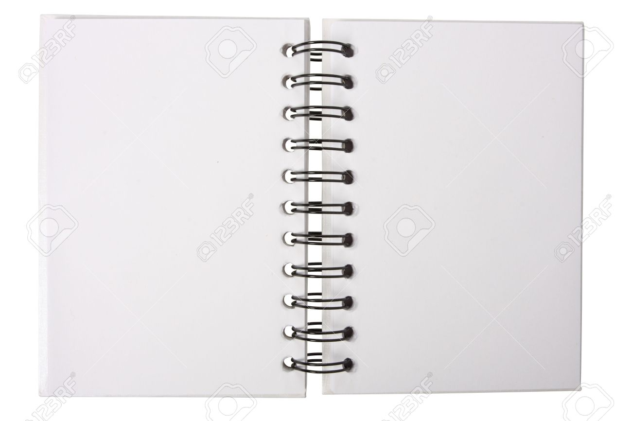 white notebook with black ring binders isolated on white open