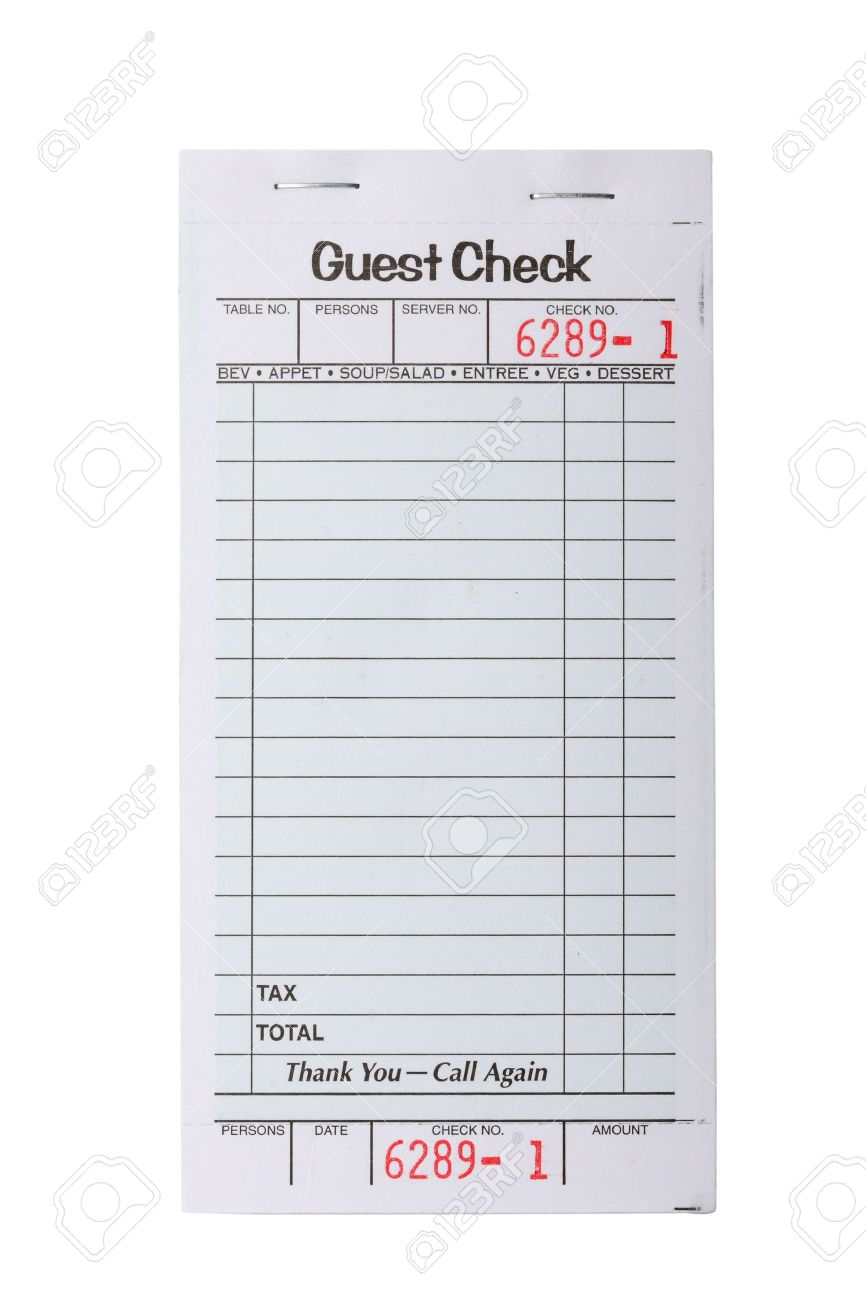 Blank Restaurant Invoice Isolated On White Stock Photo Picture And Royalty Free Image Image 3393382