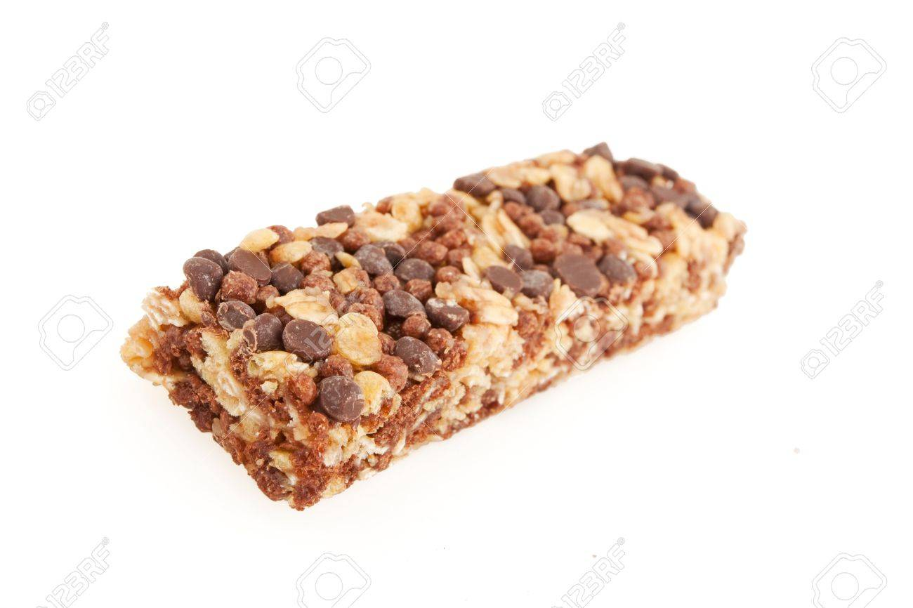 Chocolate and nut energy bar isolated on white Stock Photo - 9856876