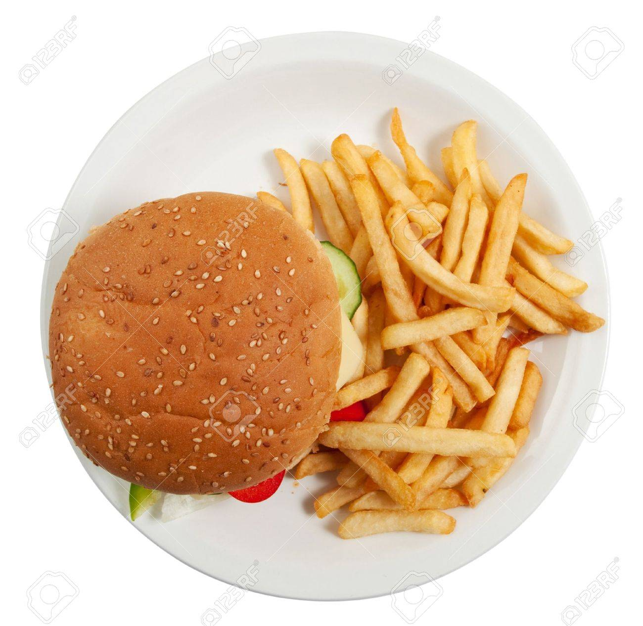 Cheeseburger on dinner plate with french fries isolated on white Stock Photo - 9856605