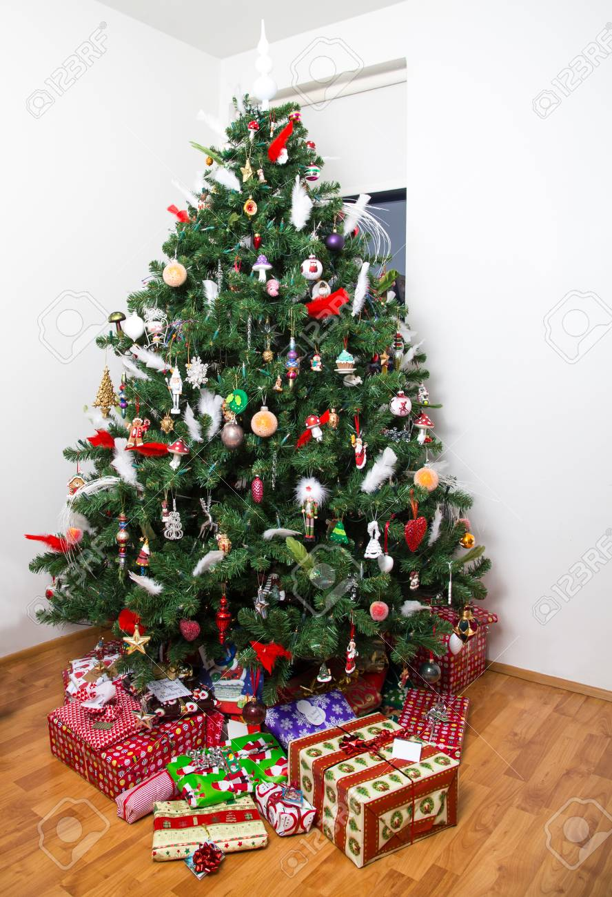 Decorated Christmas Tree With Presents Under It Stock Photo Picture