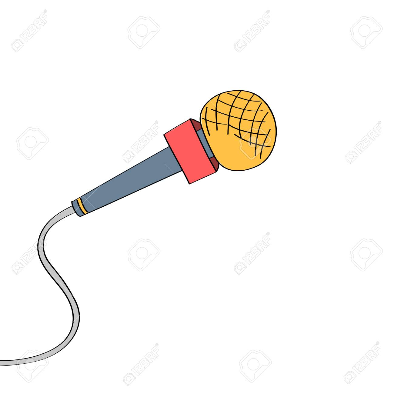 Micrófono De Dibujos Animados Dibujado A Mano