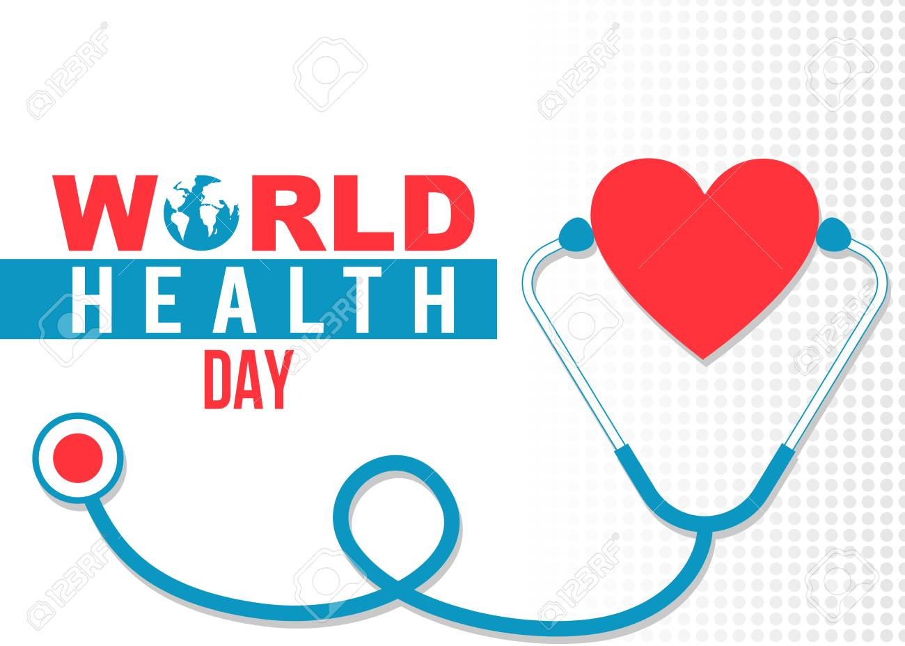 World Health Day Banner With Stethoscope And Heart Royalty Free Cliparts Vectors And Stock Illustration Image 74299707