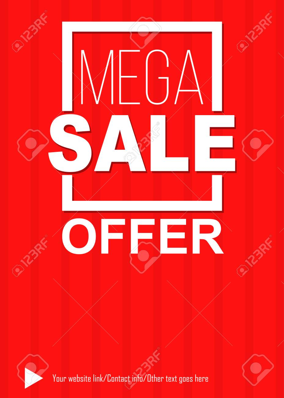 Mega Sale Offer Red Poster And Flyer Template Royalty Free Cliparts