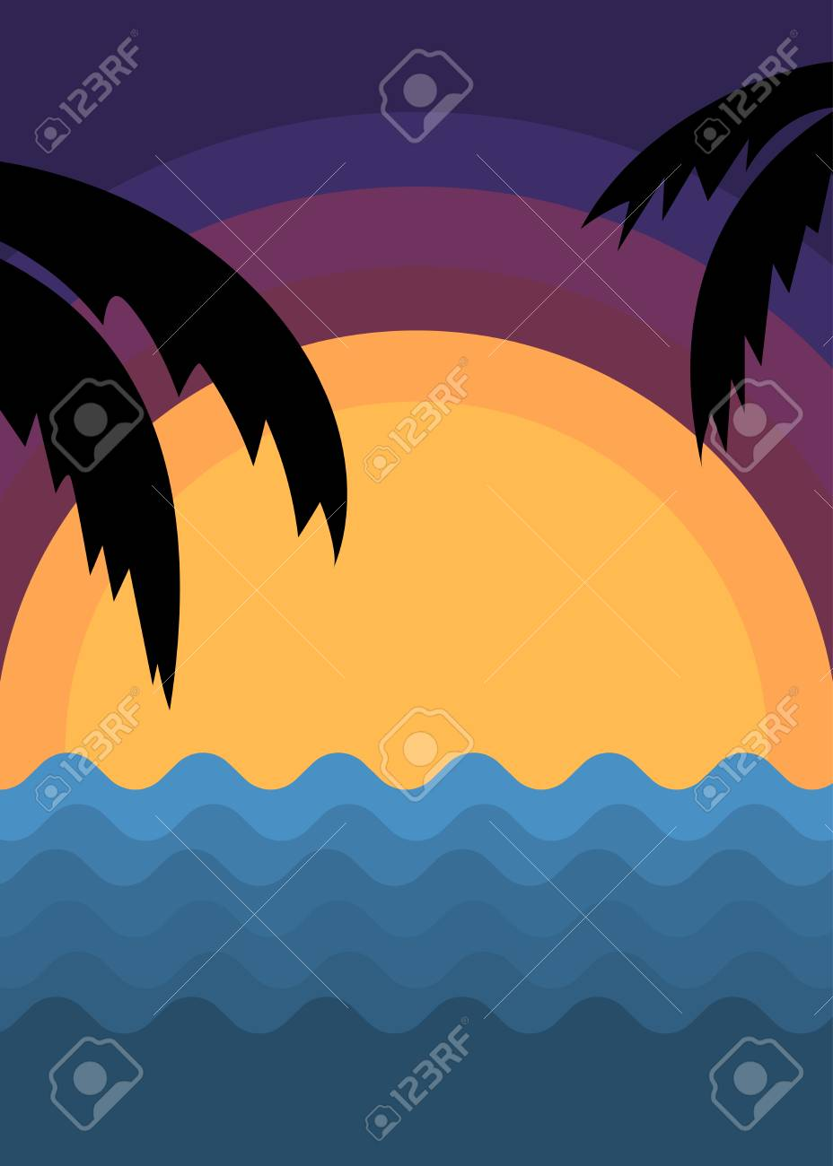 summer poster template with sunset and ocean waves royalty free
