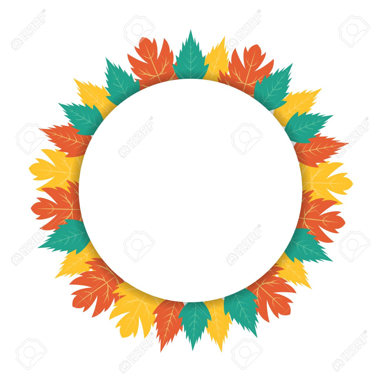autumn leaves circular banner with copy space royalty free cliparts