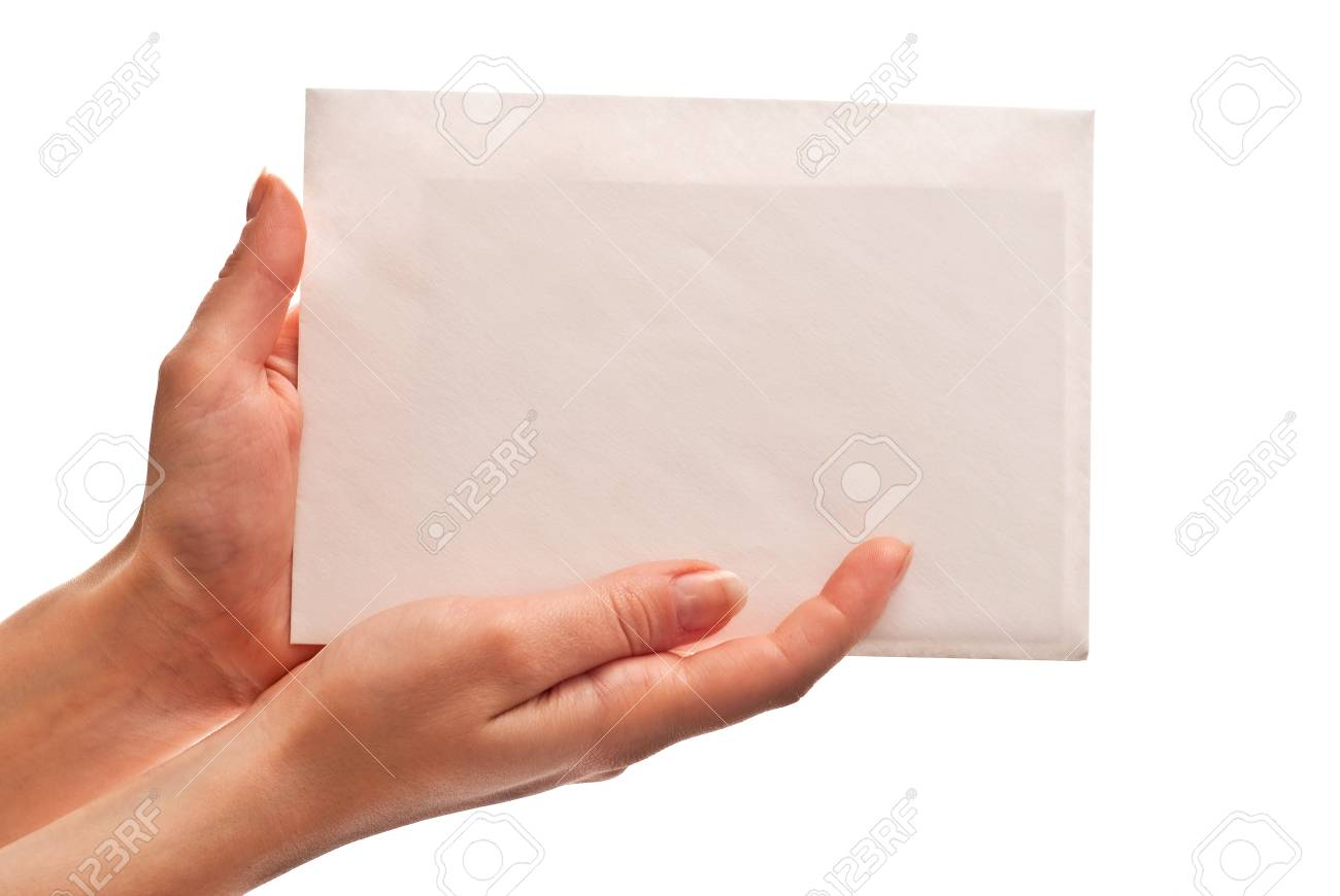 Envelope with letter in woman's hands. Isolated on white Stock Photo - 7411997