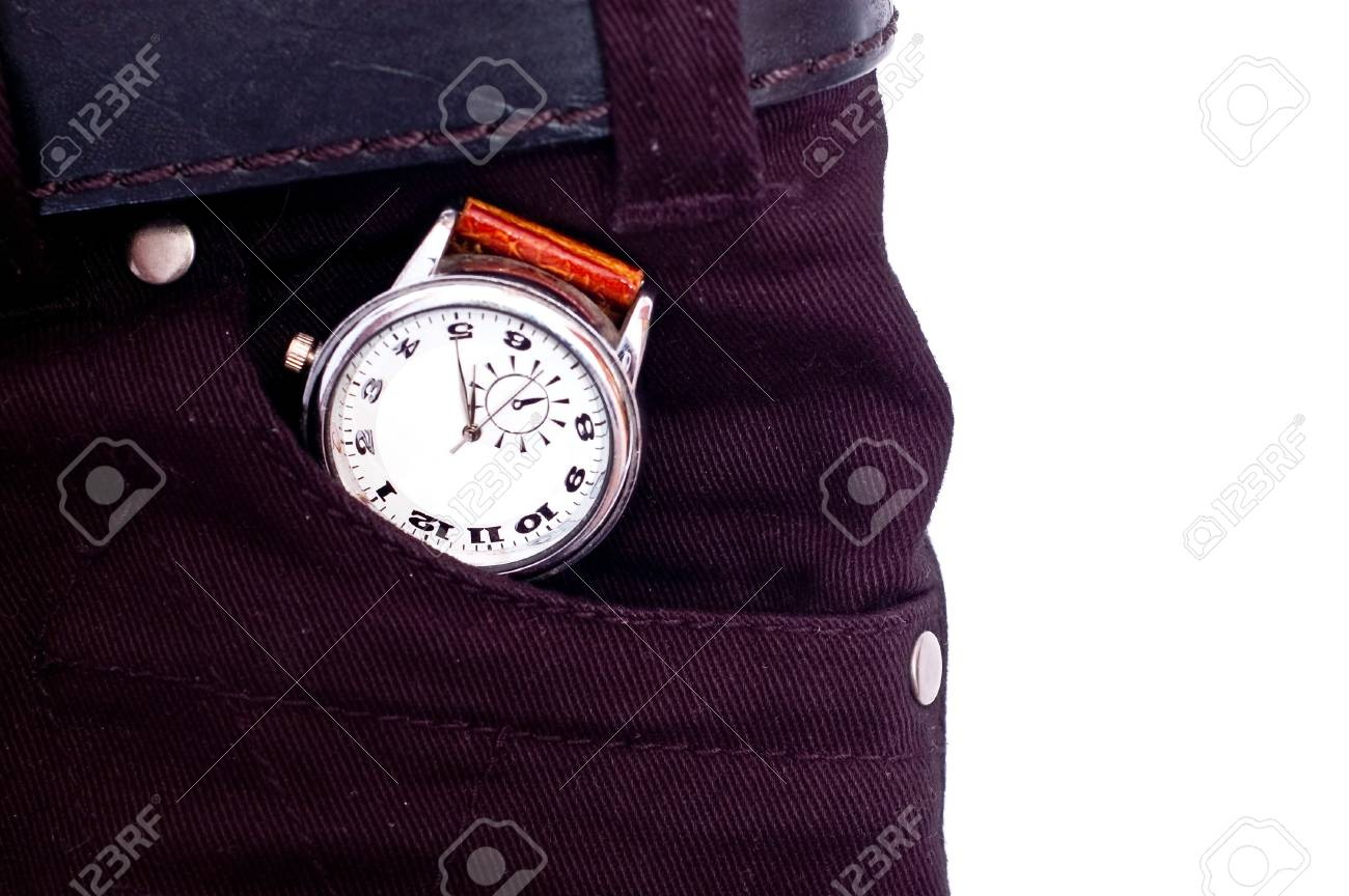 Silver watch in black jeans pocket isolated on white Stock Photo - 7373172