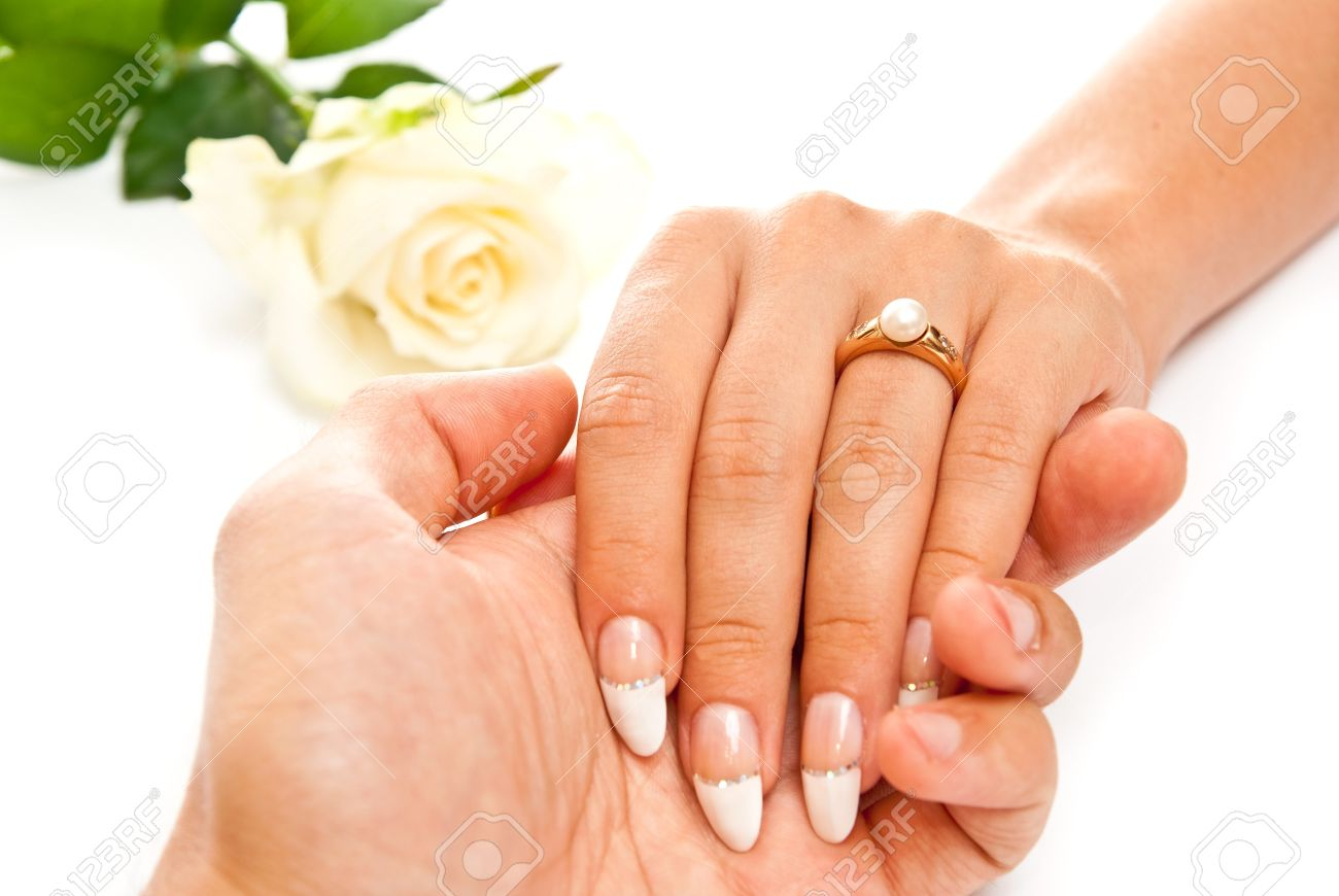 Man Holding Beautiful Woman\'s Hand With Ring. On White Background ...