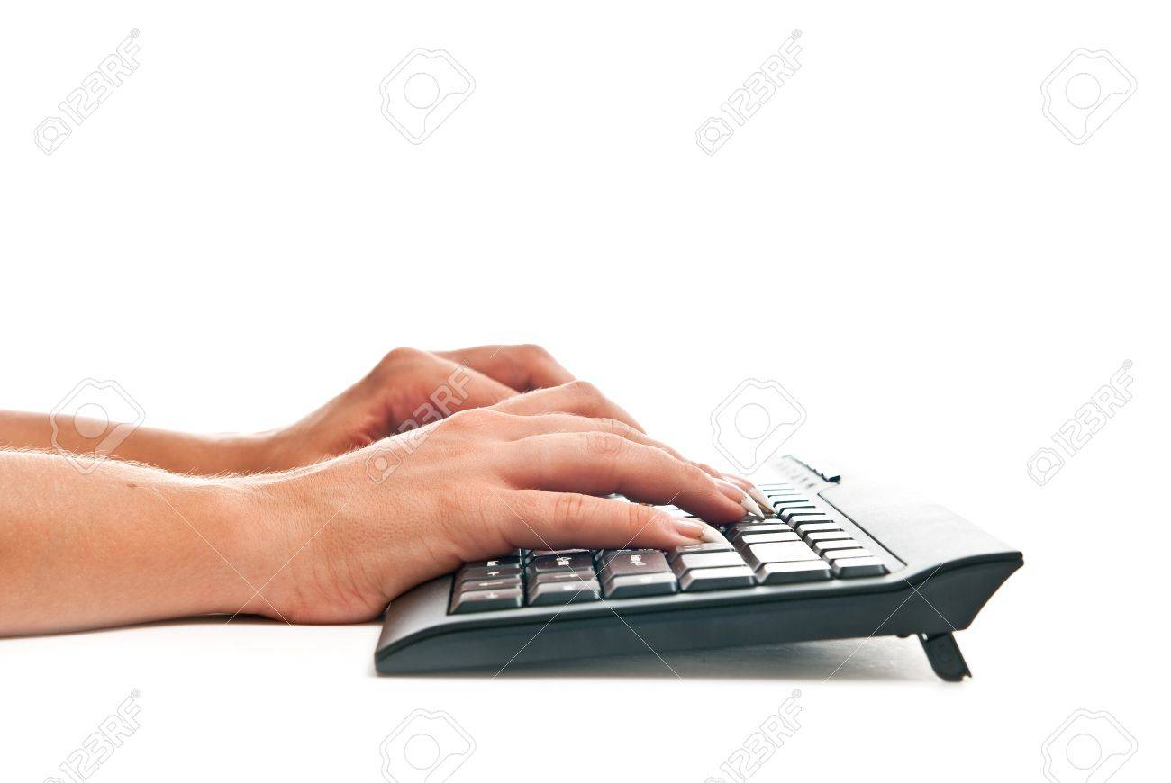 Female hands taping on black pc keyboard. White background Stock Photo - 7680743
