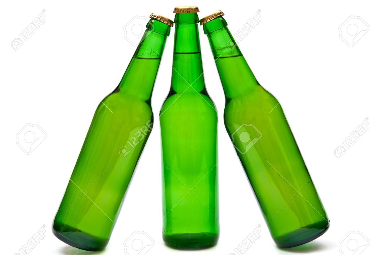 Three cold beers in green bottles isolated on white. Soft shadow Stock Photo - 7942854