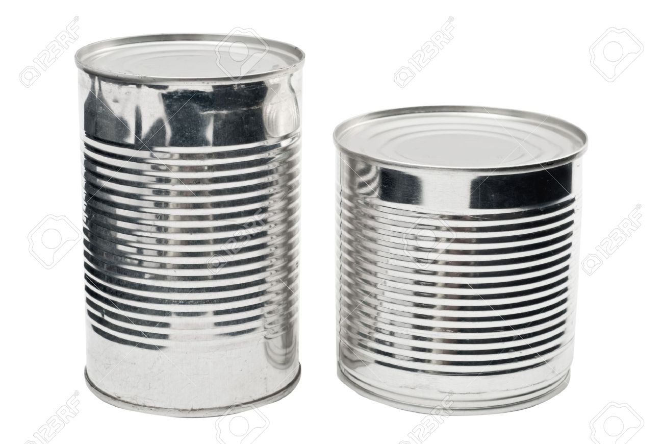 Two steel food cans isolated on white Stock Photo - 9084981