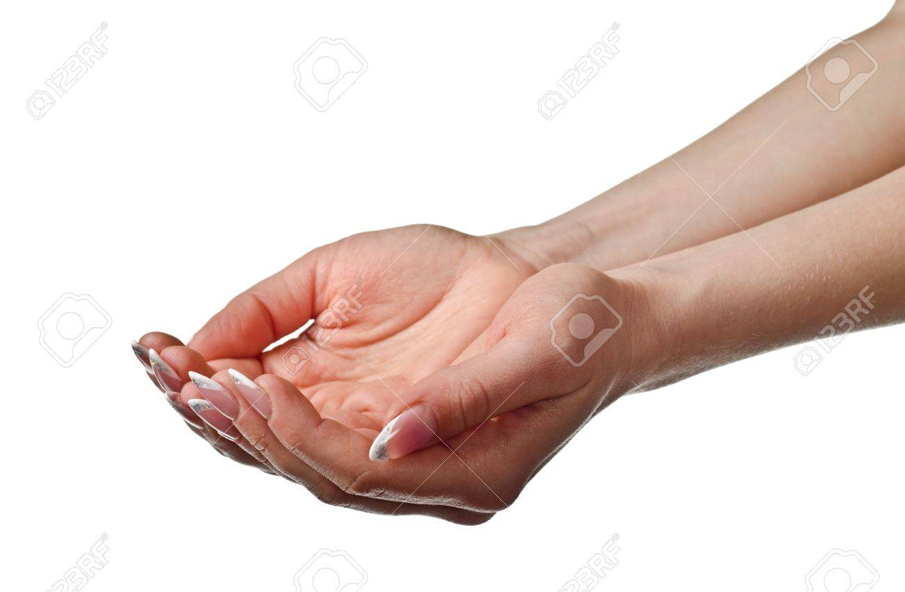 Beautiful woman's cupped hands. Isolated on white background Stock Photo - 12934556
