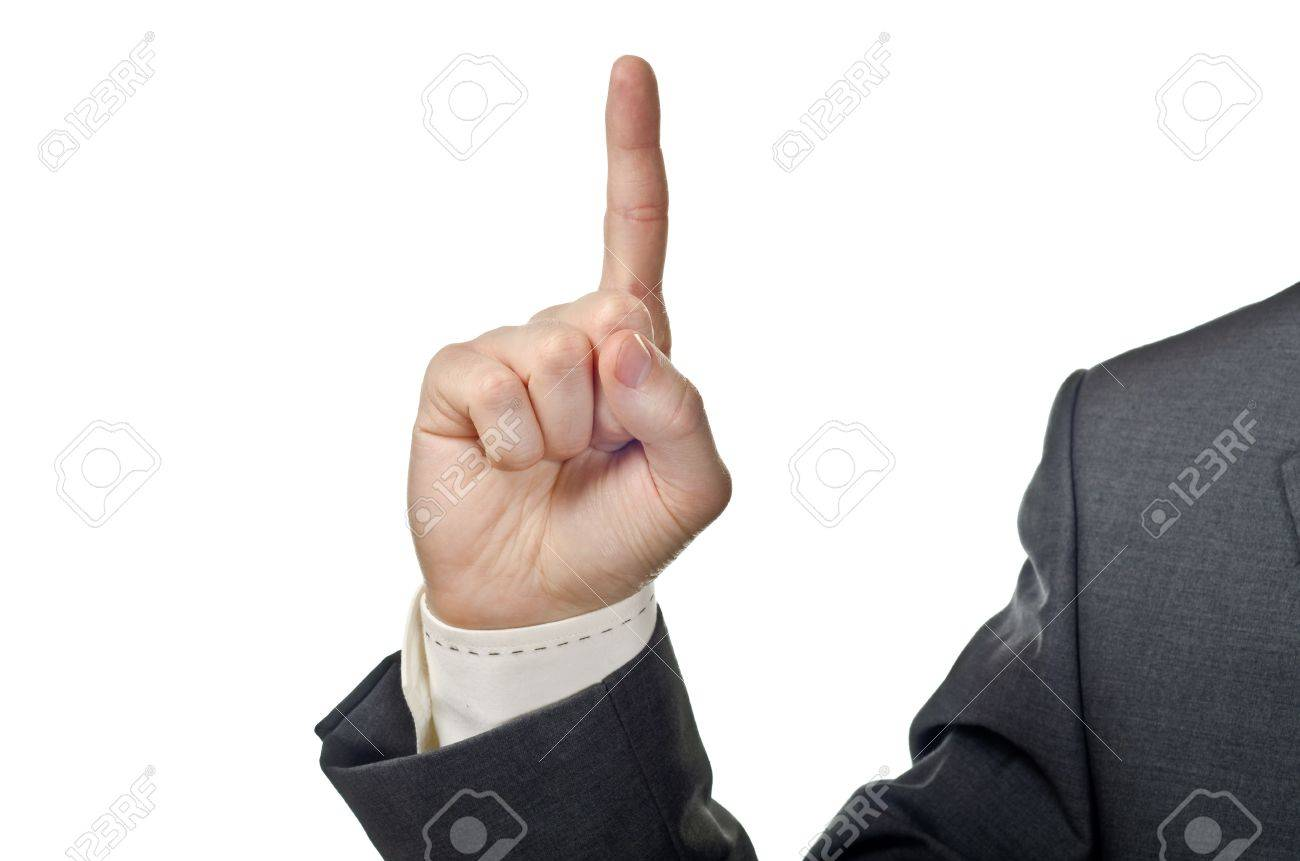 Business man hand with finger up. Isolated on white Stock Photo - 13425000