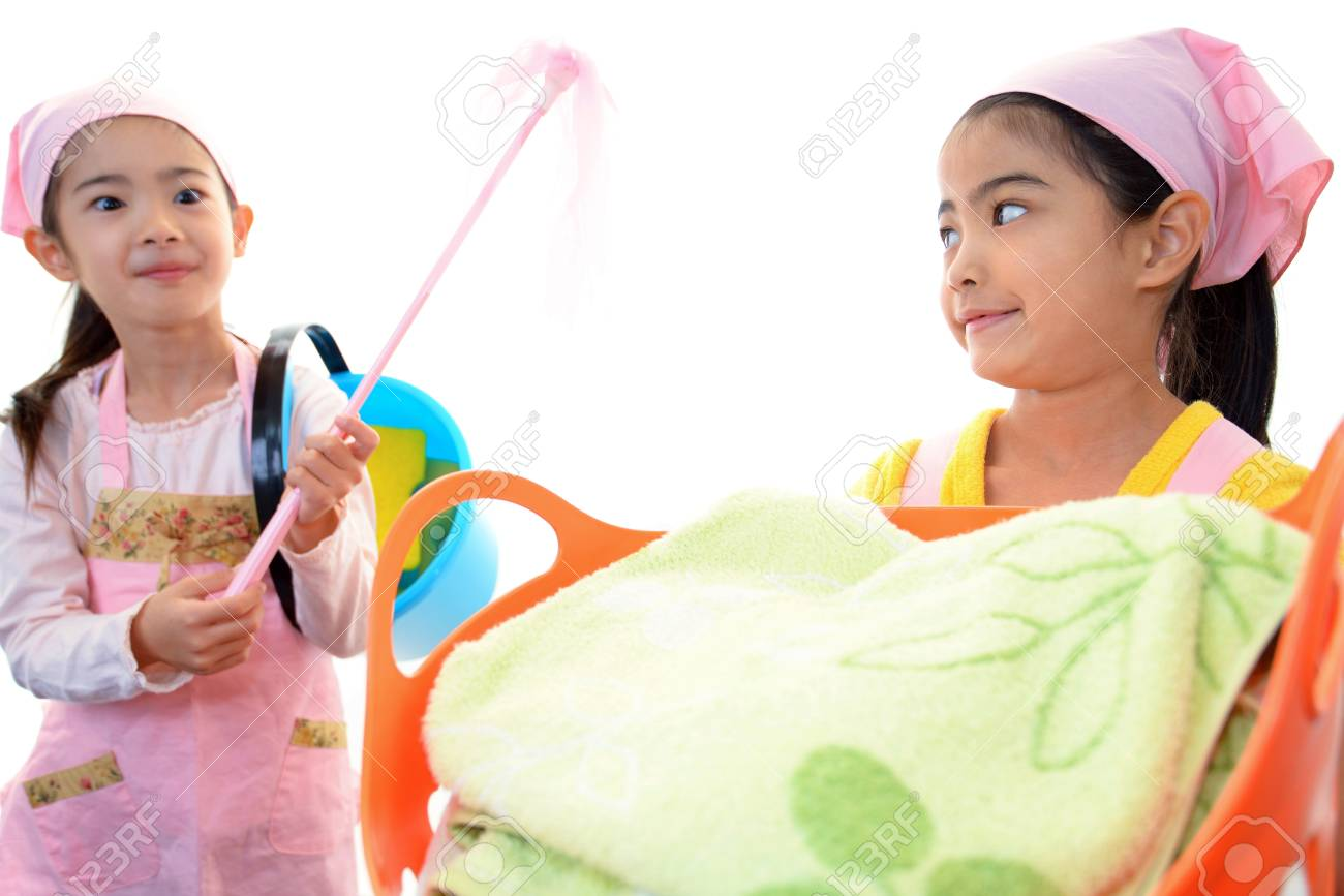 The girls who help with housework Stock Photo - 17494889