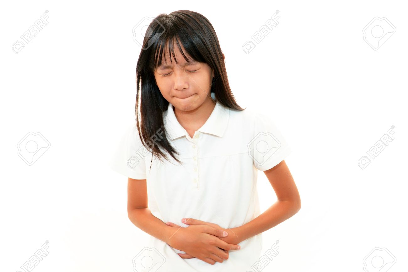 The girl who suffers from abdominal pain Stock Photo - 17492445