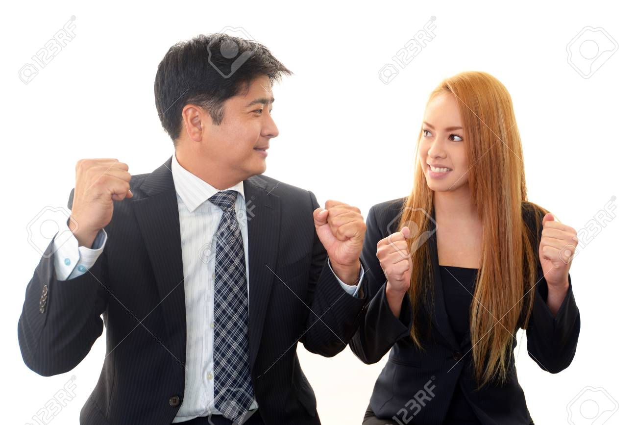 A businessman and the office lady who smile Stock Photo - 18781983