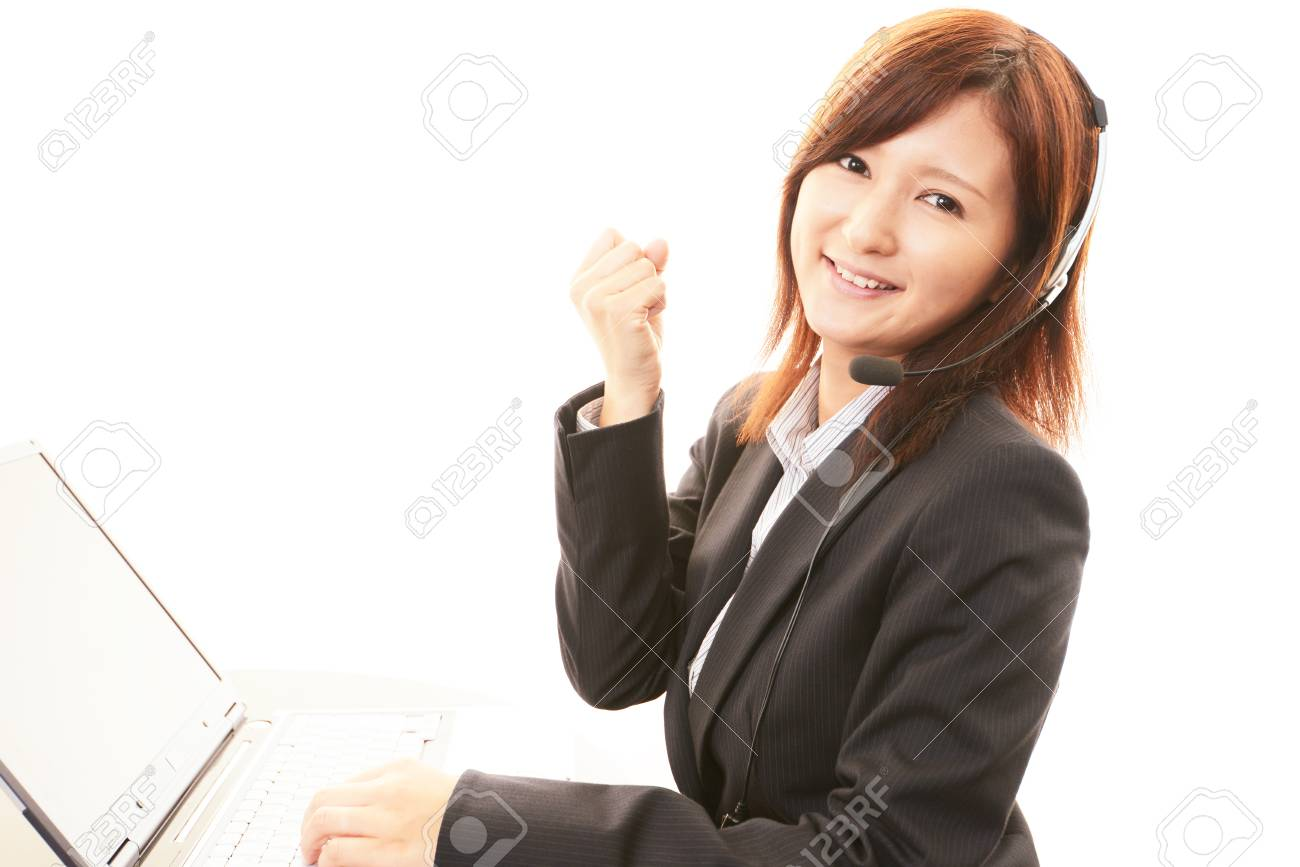 Woman with a handset Stock Photo - 19992781