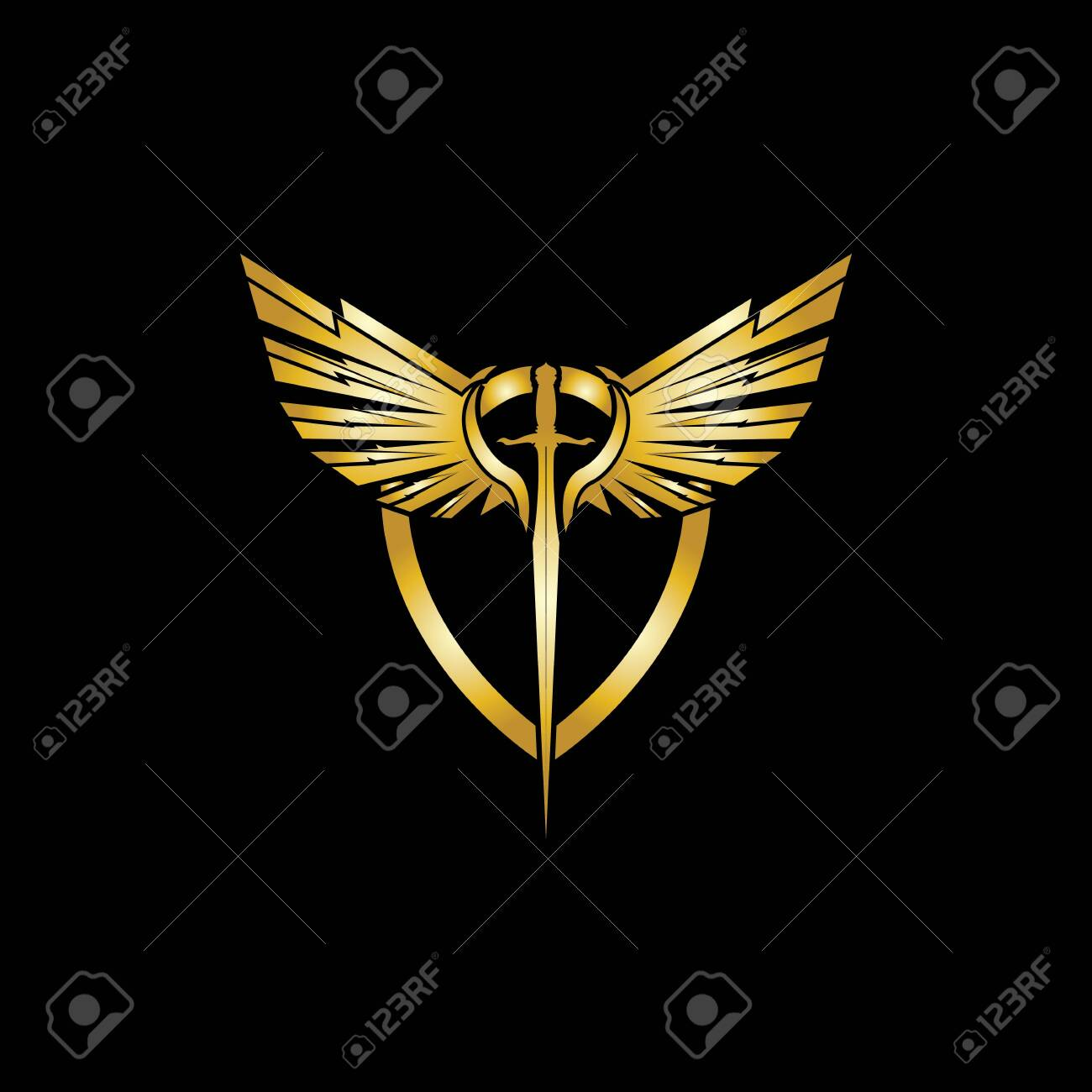 Royalty Free Clip Art Vector Logo of a Black and White Tribal Winged Sword  by Vector Tradition SM - #8015