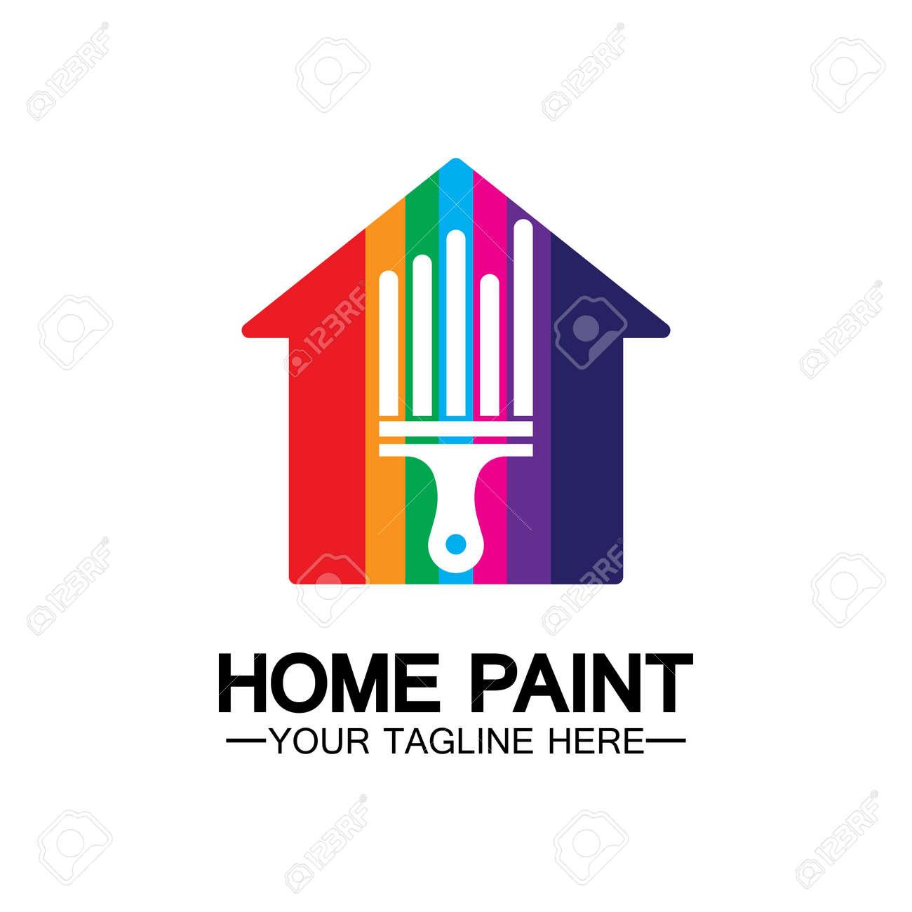 Home Painting Vector Logo Design.Home House Painting Service Coloring Logo Design Template.House painting service, decor and repair multicolor icon Vector logo. - 165929595