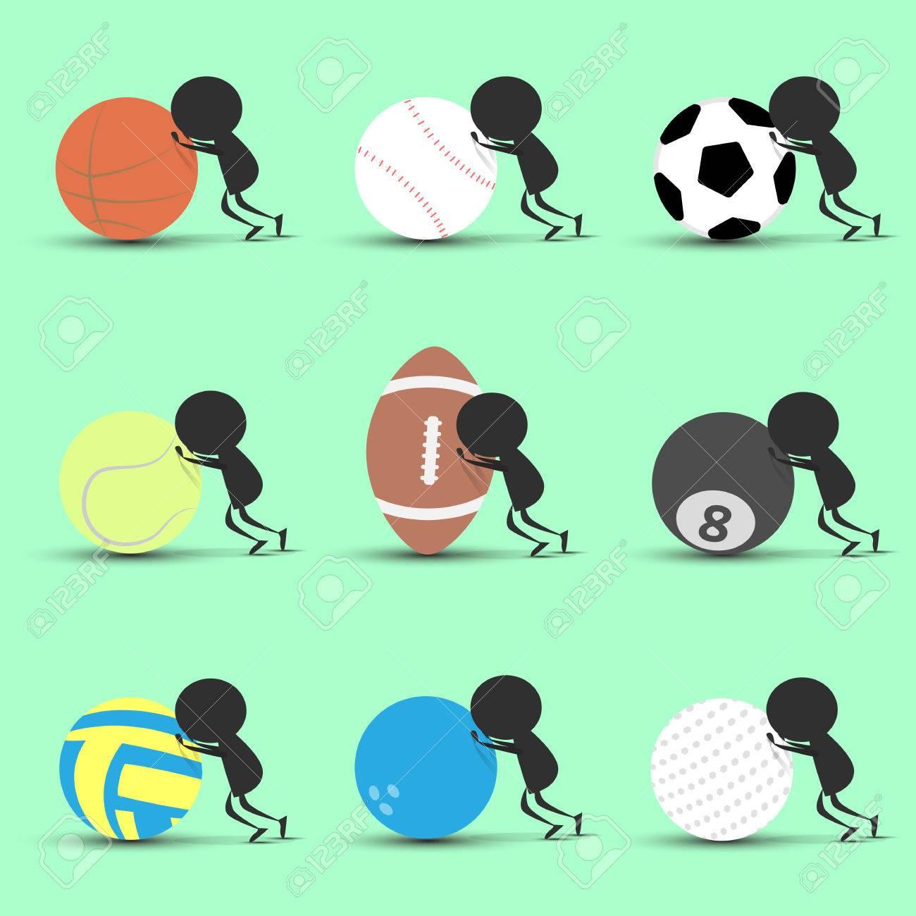 Black man character cartoon push sports ball forward with green background. Flat graphic. logo design. sports cartoon. sports balls .vector. illustration. - 78424319