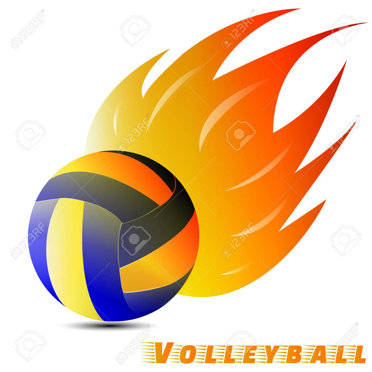 Volleyball Ball With Red Orange Yellow Tone Of The Fire In White Royalty Free Cliparts Vectors And Stock Illustration Image 78532900