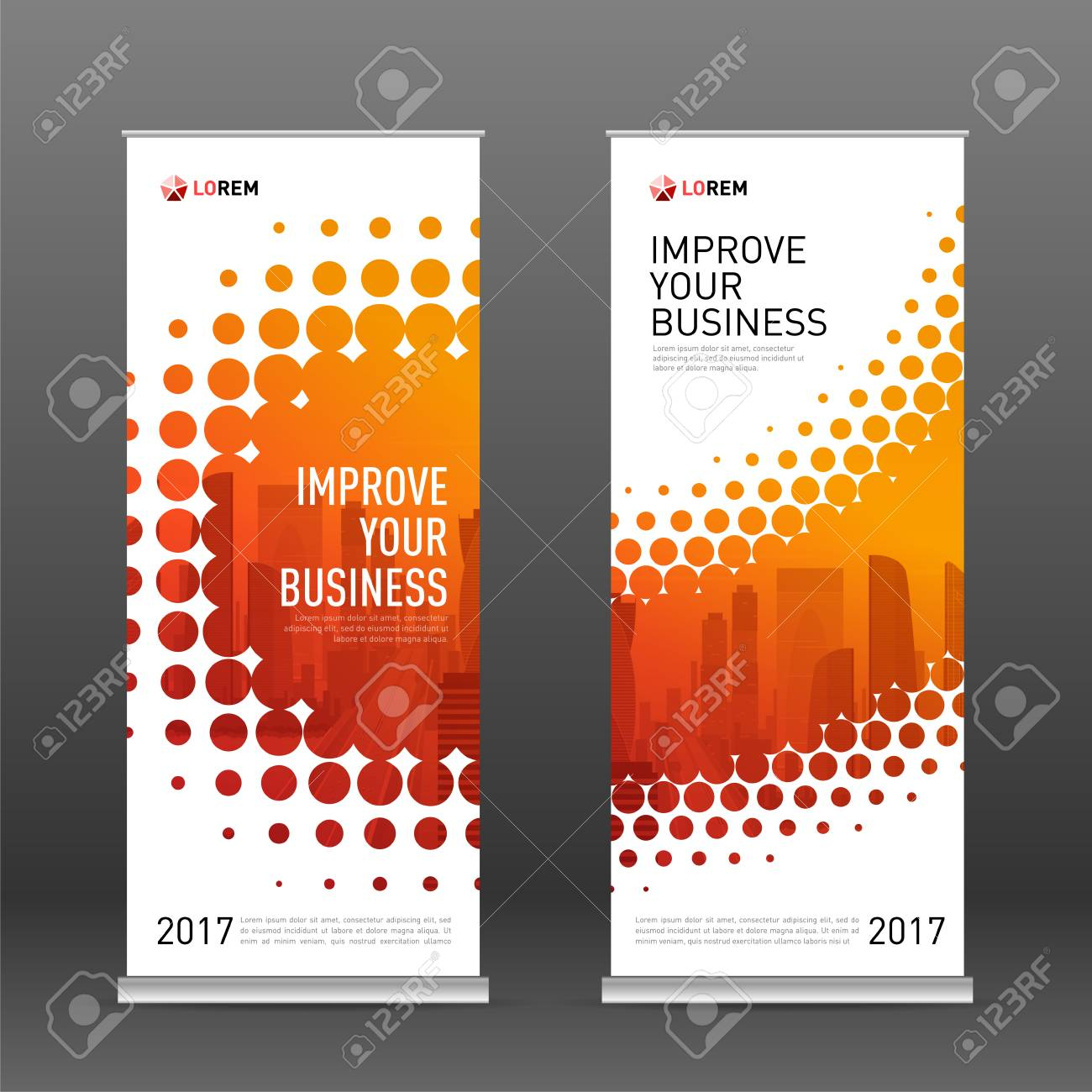 Industrial roll up banner design template. Abstract halftone effect with colored cityscape vector illustration on background. - 90312021
