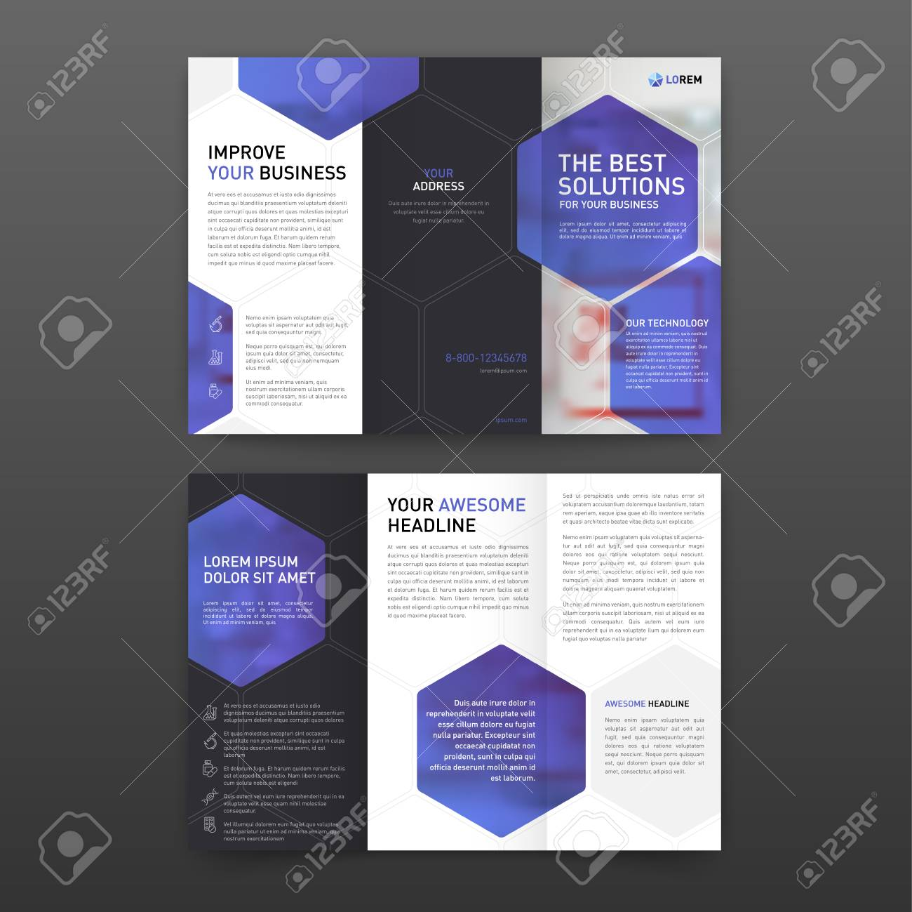medical brochure template layout with icons set royalty free