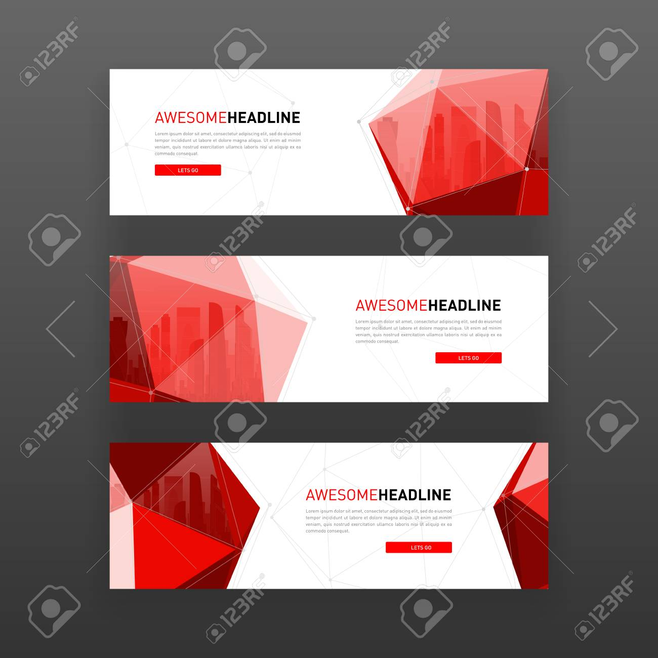 3d low poly solid abstract corporate banner or web slideshow