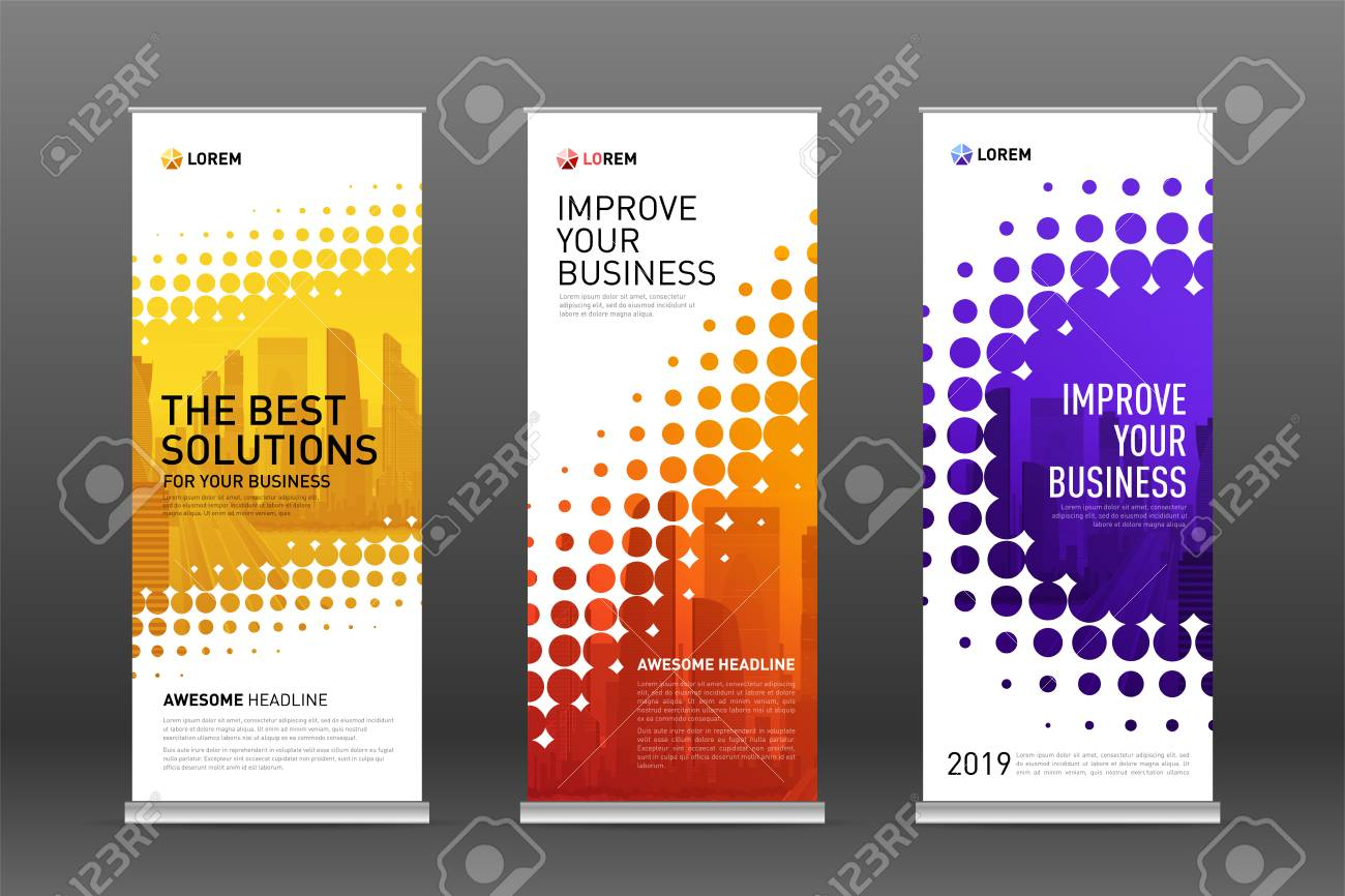 Construction roll up banners design templates set. Vertical banner for event with skyscrapers vector illustration on background. - 127715152