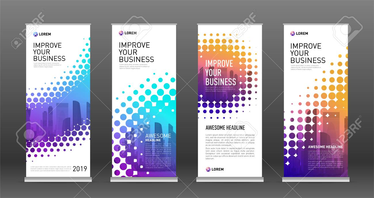 Industrial Roll Up Banners Design Templates Set Vertical Banner