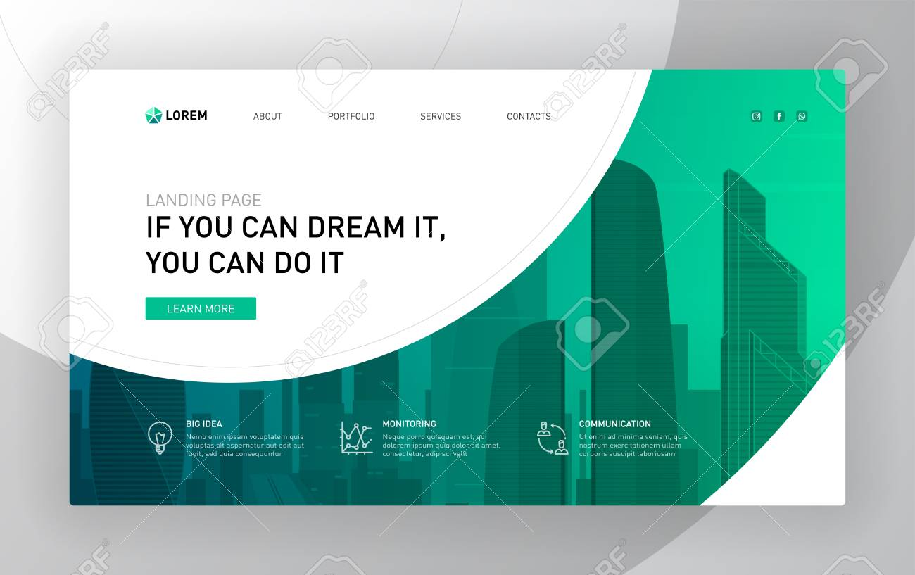 Landing page template for business. Modern web page design concept layout for website. Vector illustration. - 126416018
